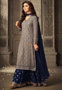 Copy of Steel Grey Lehenga Choli With Lucknowi And Abla Work In Floral Buttis Online  Kalki Fashion