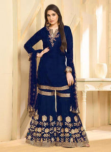 Fancy Summer Designer Blue Rangoli Salwar Suit