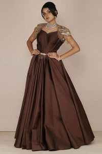 Choco Brown Sequins Embroidered Silk Evening Gown