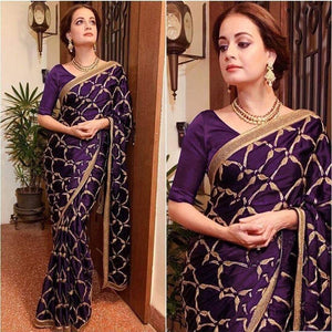 Heavy Embroidery Wine Vichitra Silk Saree