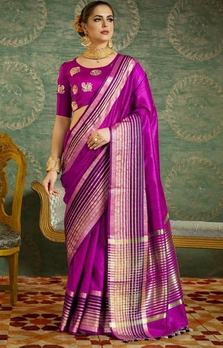 Admirable purple Color Designer Soft Silk Saree