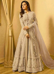 Drashti Dhami Beige Embroidered Anarkali Suit