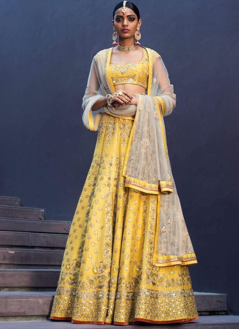 Indian Festive Wear Yellow Heavy Embroidery Designer Traditional Lehenga Choli