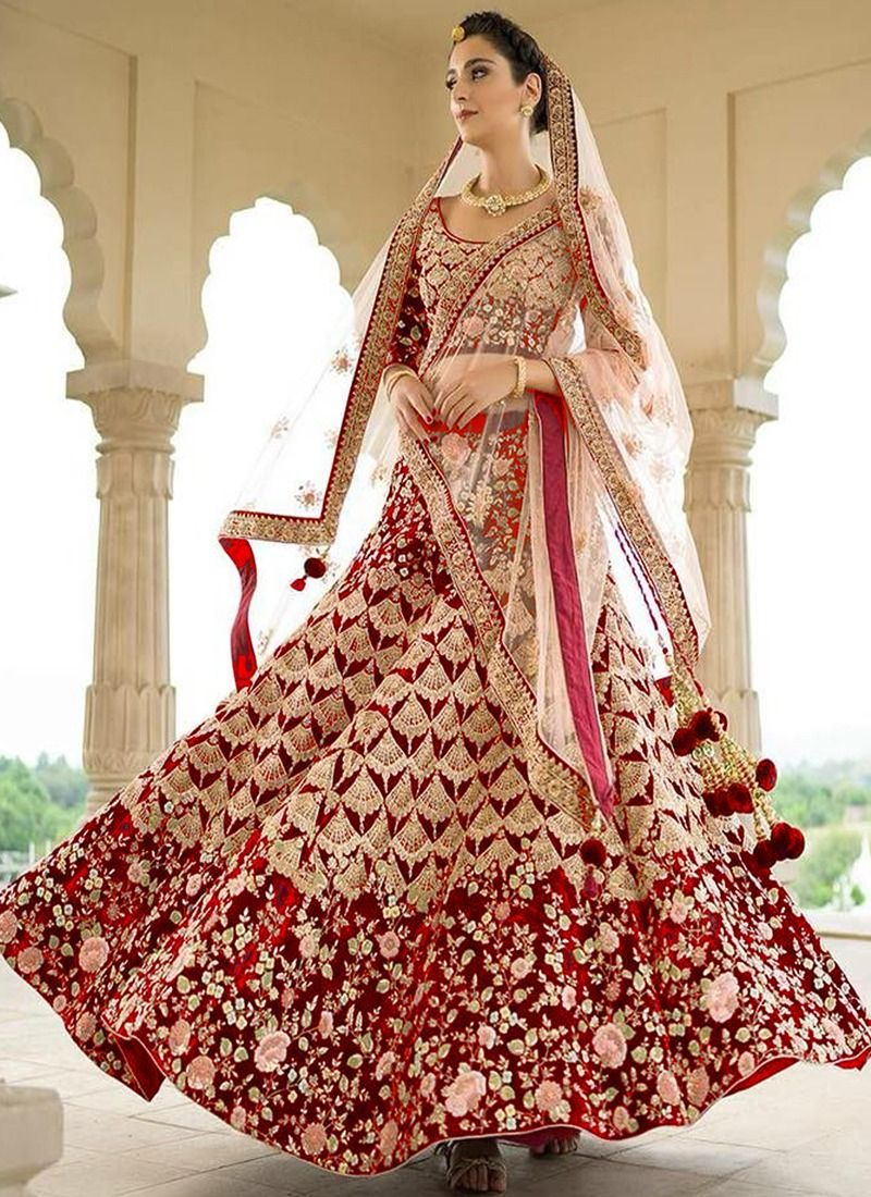 Indian Women Taffeta Silk Thread Work And Hand Work Designer Lehenga In Red Colour