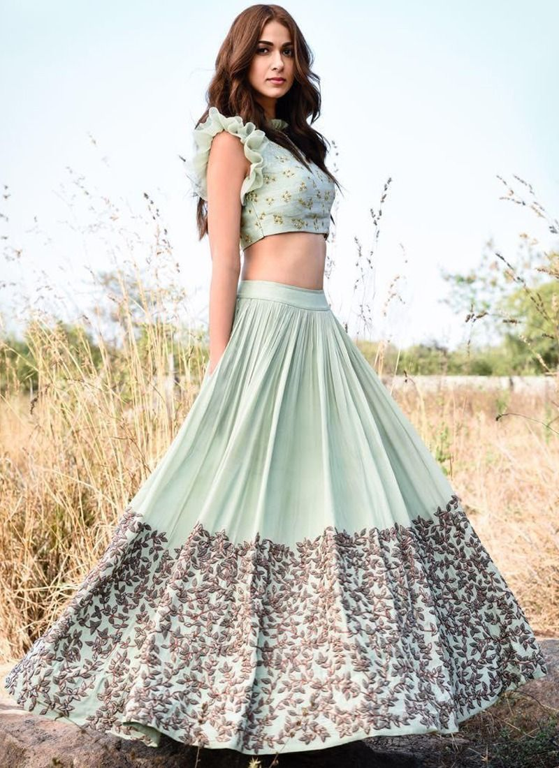 Latest Arrival Light Green Heavy Embroidery Designer Lehenga Choli