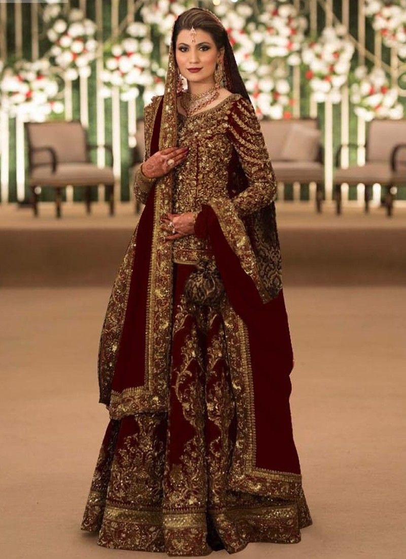Latest Collection Maroon Color Bridal Lehenga Choli With Pure French Crepe Fabric