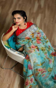Delightful Blue Color Linen Designer Digital Print Saree