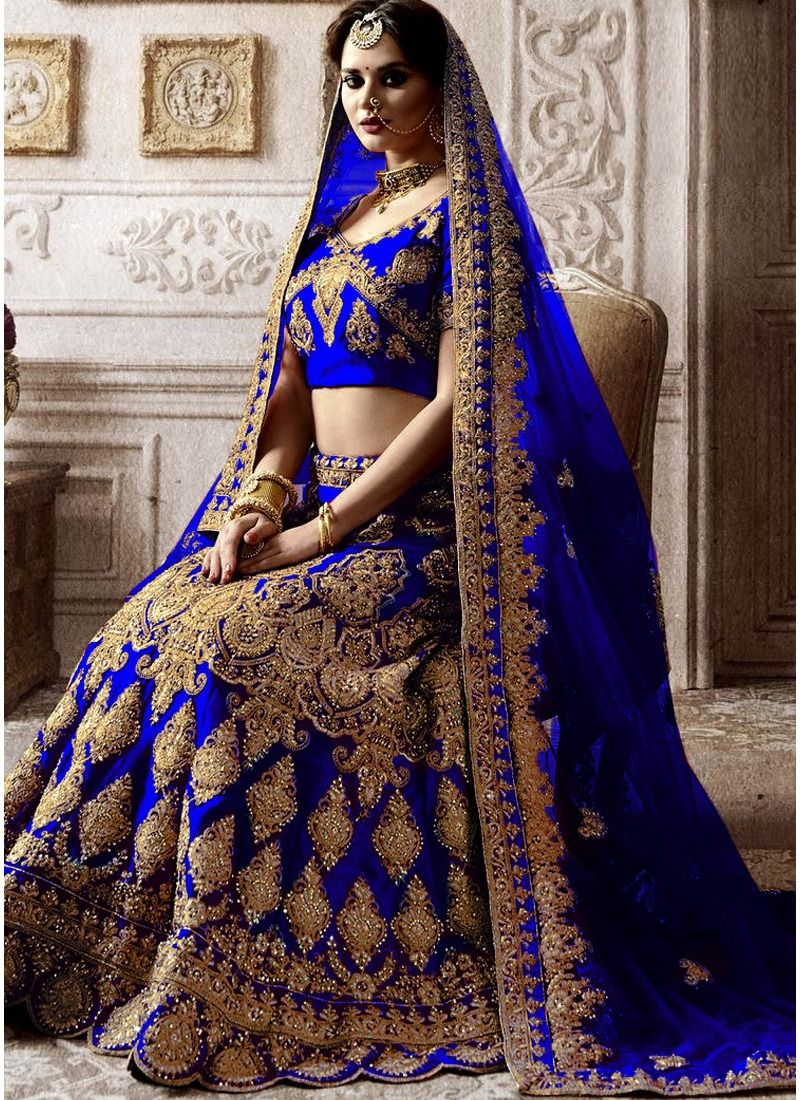 Most Demanded Royal Blue Bridal Kerala Silk Diamond Work Lehenga Choli With Mono Net Dupatta