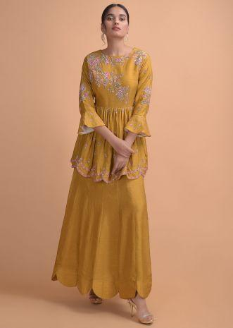 Mustard Yellow Gown With Peplum Waist And Hand Embroidery Work