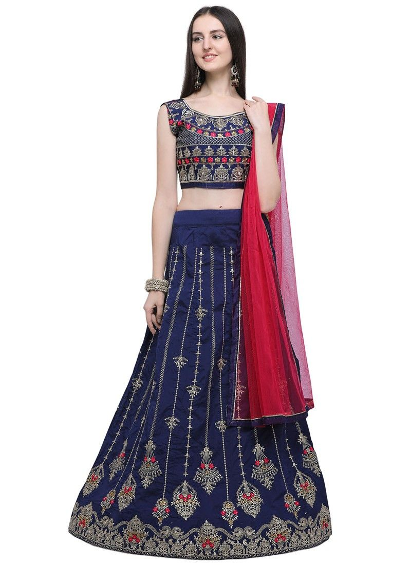 Navy Designer Lehenga Choli For Wedding
