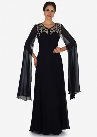 Navy Blue Gown In Georgette Crafted With Sequin And Zardosi Embroidery Work