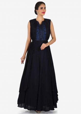 Navy Blue Gown In Silk Adorn In Pleats And Embroidered Placket