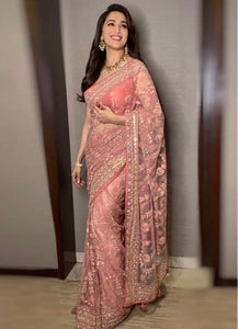 Peach Butterfly Mono Net Designer Saree
