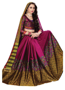 Soft Silk Cotton Pink Designer Beautiful Saree