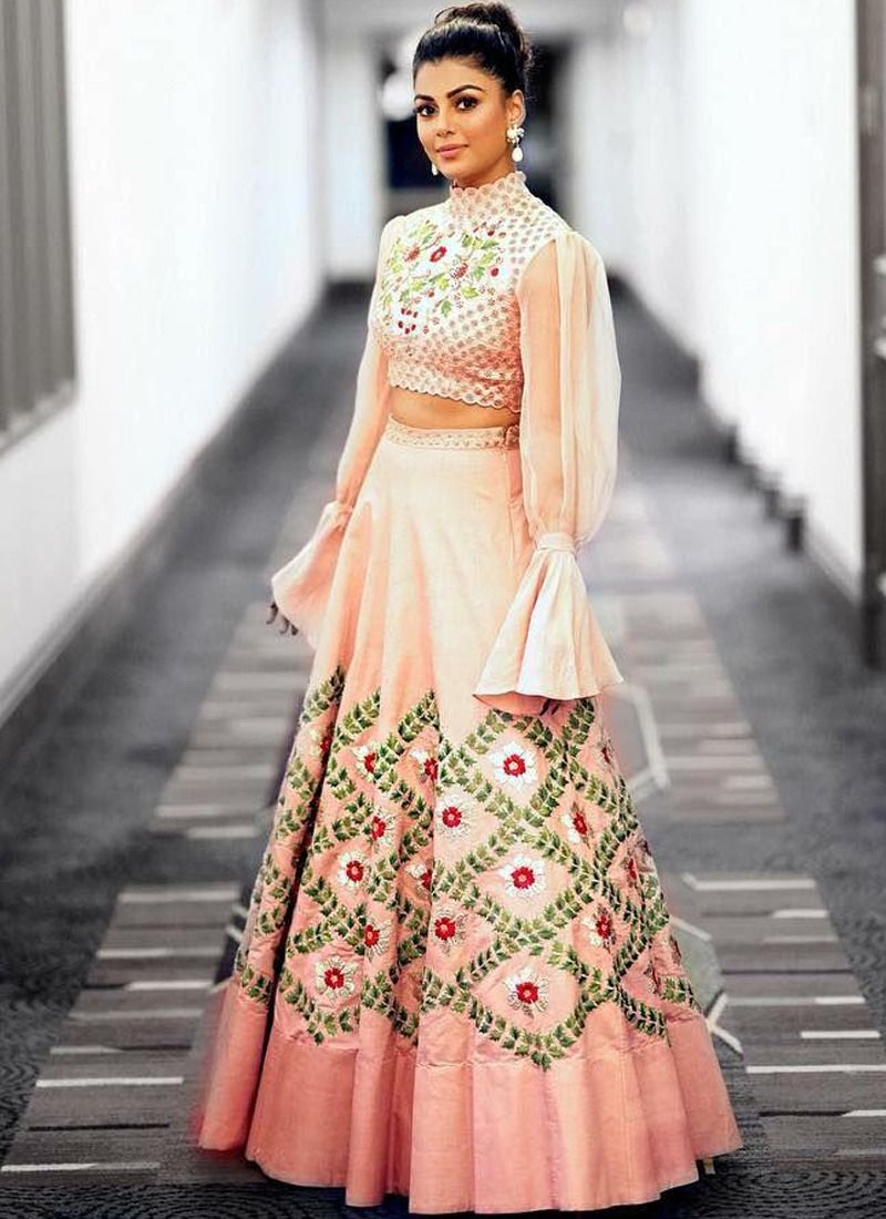Peach Embroidered Sequnce Thread Work Taffeta Silk Cancan Net Designer Lehenga