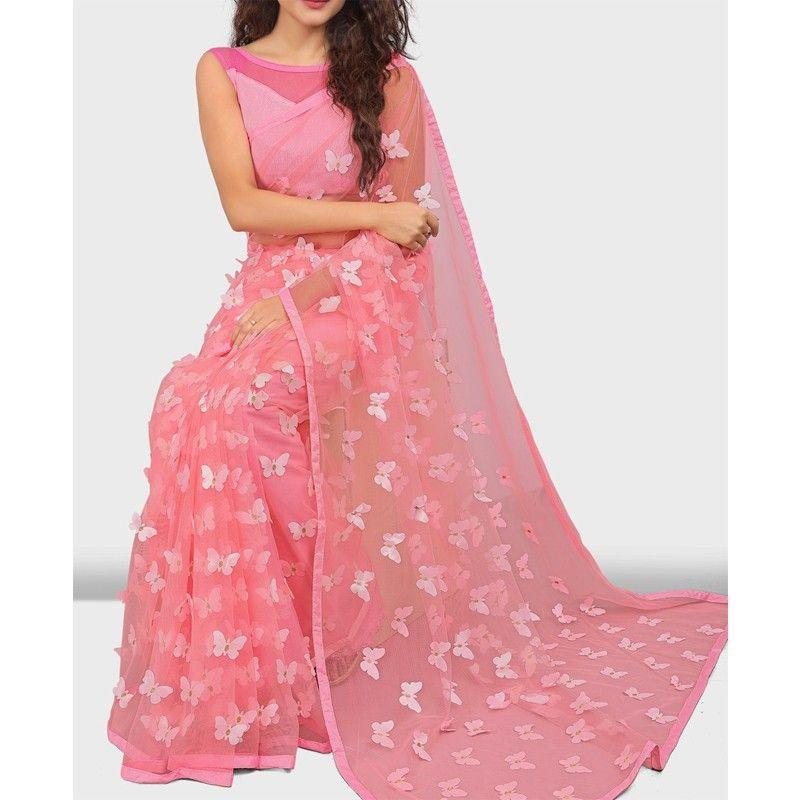Pink Butterfly Mono Net New Saree