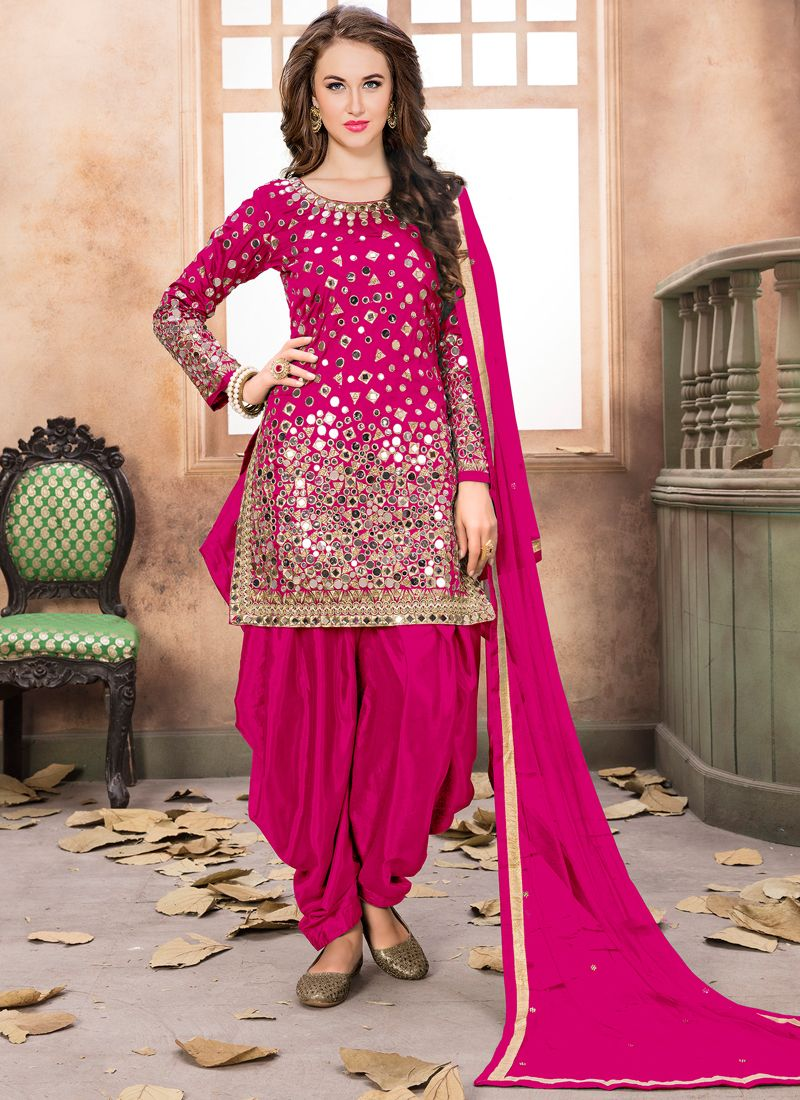 Pink Mirror Work Aanaya Latest Style Partywear Suit