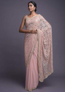 Powder Pink Saree In Floral Lace And Net In Half And Half Pattern Online