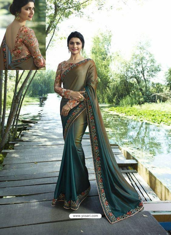 prachi desai Bollywood goergette Embroidered blue Saree