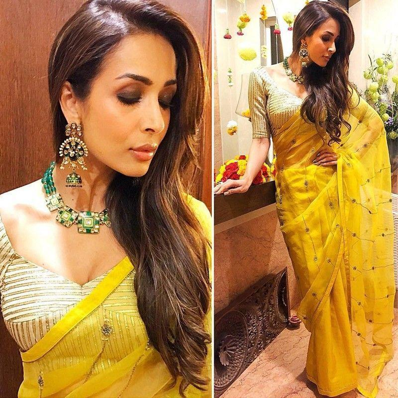 Wedding Wear Yellow Color Latest Saree