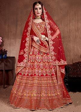 Red Embroidered A Line Lehenga red choli and dupatta.