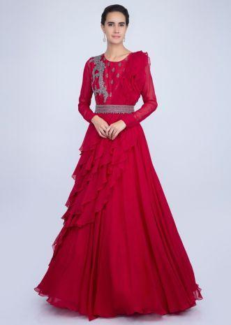 Red Gown With An Embellished Belt And A Wrap Around In Frilled Layer
