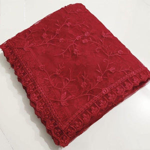 Red Naylon Net Fancy Thread Work Saree