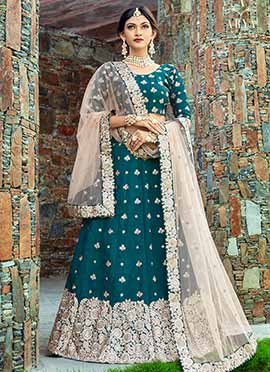 Teal Green Embroidered A Line Lehenga
