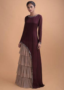 Wine Long Dress In Crepe With Asymmetric Cut
