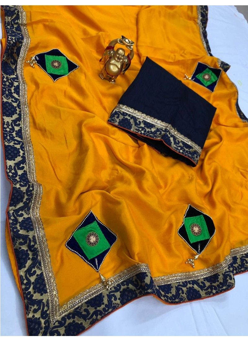 Yellow Vichitra Silk Fancy Saree Collection