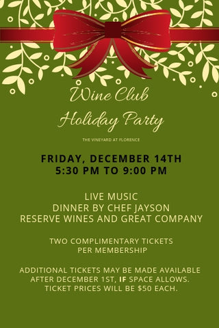 Friday, December 14th, Wine Club Christmas Party