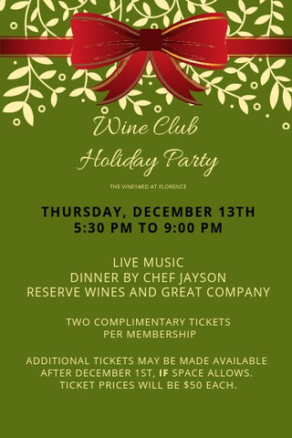 Thursday December 13th, Wine Club Christmas Party