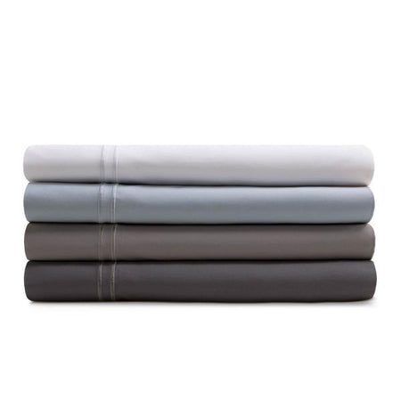Woven Supima Cotton Sheets in Charcoal, Flax, Smoke Gray and White