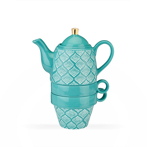 Taylor™ Bali Turquoise Tea Set for Two - NutriTeaCup