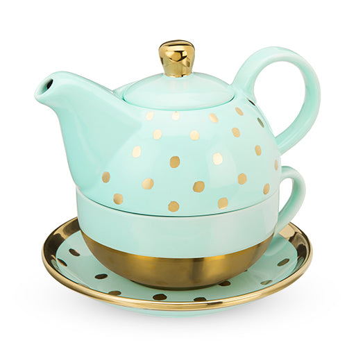 Addison™ Aqua Gold Dot Tea for One Set - NutriTeaCup
