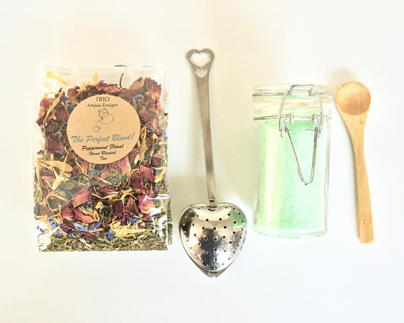 Floral Mint Tea & Mint Sugar Gift Set - NutriTeaCup