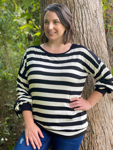 Black striped heart button blouse