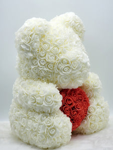 Ivory Rose Teddy Bear with Red Heart