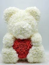 Load image into Gallery viewer, Ivory Rose Teddy Bear with Red Heart