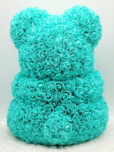 Load image into Gallery viewer, Turquoise rose teddy bear with pink heart