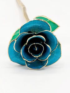 LIGHT BLUE 24K GOLD DIPPED ROSE