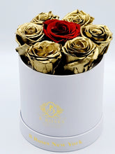 Load image into Gallery viewer, Small Round Box Gold Roses with Red Center Rose