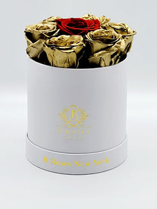 Small Round Box Gold Roses with Red Center Rose