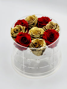 Acrylic Box Preserved Gold & Red Roses Christmas Gift