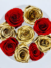Load image into Gallery viewer, Acrylic Box Preserved Gold & Red Roses Christmas Gift