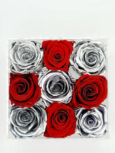 Load image into Gallery viewer, Square Acrylic Box Preserved Platinum & Red Roses Christmas Gift