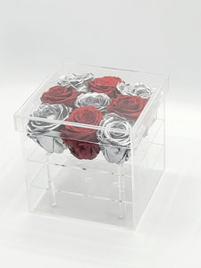 Square Acrylic Box Preserved Platinum & Red Roses Christmas Gift