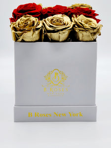 Classic Square Gold, and Red Roses Christmas Gift