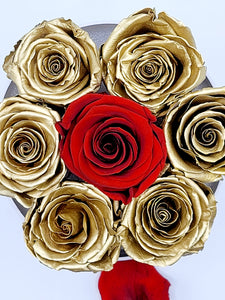 Acrylic Box Preserved Gold Roses W/Red center Rose Christmas Gift
