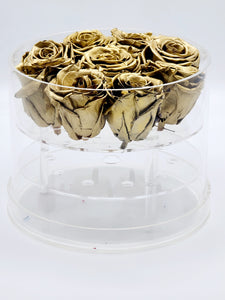 Acrylic Box Preserved Gold Roses Christmas Gift